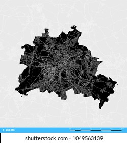 Berlin City Vector Map. Black and White Silhouette Version. Rich details for highways, roads and smaller streets. Usable for travel marketing, real estate and education.