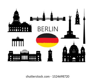 Berlin famous tourist places. Travel Germany set. German building icon silhouette collection.