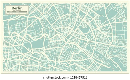 Berlin Germany City Map in Retro Style. Outline Map. Vector Illustration.