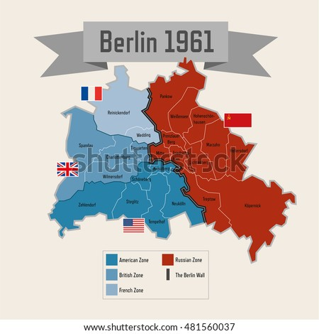 Map Of Germany During Cold War.Berlin Germany Cold War Division Zones Stock Vector Royalty Free