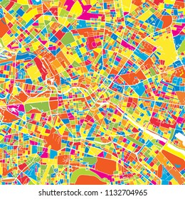 Berlin, Germany, colorful vector map.  White streets, railways and water. Bright colored landmark shapes. Art print pattern.
