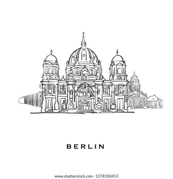 Berlin Germany Famous Architecture Outlined Vector Stock