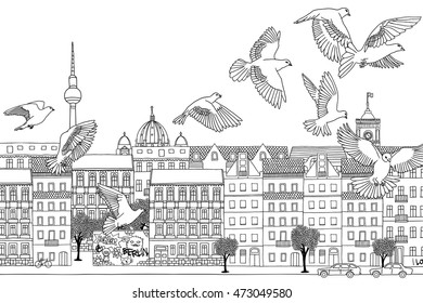 Berlin, Germany - hand drawn black and white cityscape with birds