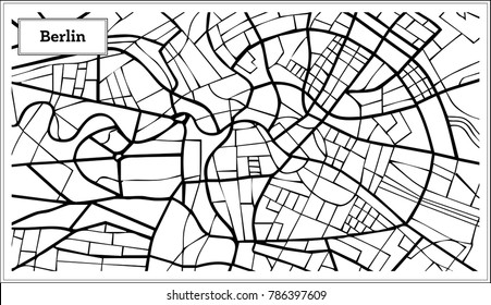 Berlin Germany Map in Black and White Color. Vector Illustration. Outline Map.