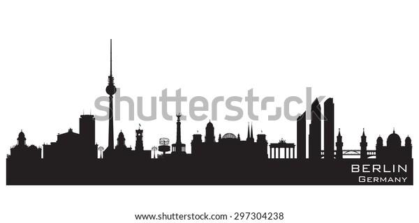 Berlin Deutschland Skyline Detaillierte Vektorsilhouette