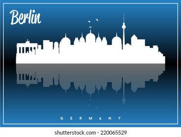 Berlin, Germany, skyline silhouette vector design on parliament blue and black background.