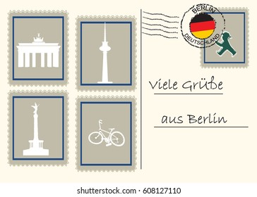 Berlin landmarks and symbol . Victory column, Brandenburg gate, TV tower  and bike.Text in German means: Greetings from Berlin