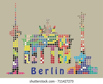 Berlin landmarks and symbols . Victory column, Brandenburg gate, TV tower.Halftone effect