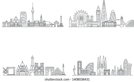 Berlin, London, Paris, Barcelona cities skylines. Line art illustration