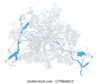Berlin map. Detailed vector map of Berlin city administrative area. Poster with streets and water on white background.