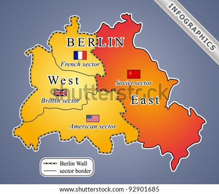 Map Of Germany During Cold War.Berlin Map During Cold War Including Stock Vector Royalty Free