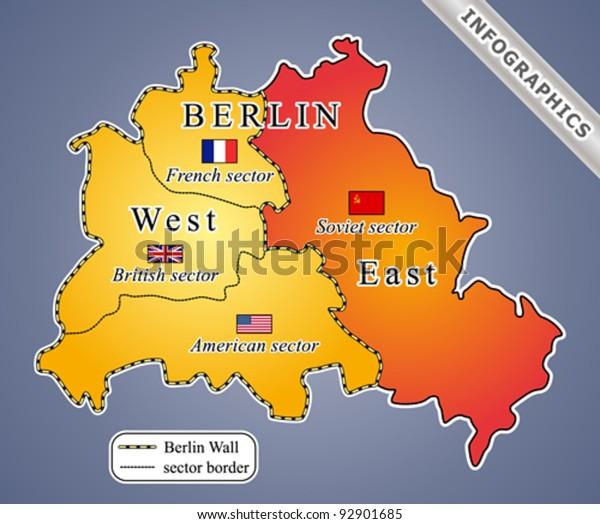 Berliinin Kartta Kylman Sodan Aikana Mukaan Arkistovektori