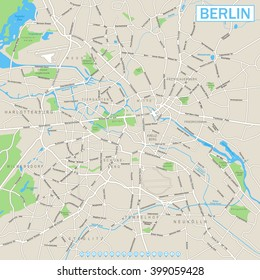 Berlin Map and Navigation Icons    Highly detailed vector street map of Berlin. It's includes: - streets - parks - names of subdistricts - water object names