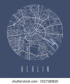 Berlin map poster. Decorative design street map of Berlin city. Cityscape aria panorama silhouette aerial view, typography style. Land, river, highways, avenue. Round circular vector illustration.