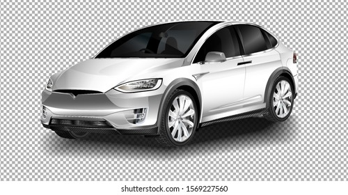 BERLIN - NOVEMBER 09, 2016: Showroom. The full-sized, all-electric, luxury, crossover SUV Tesla Model X. vector illustration on transparent background, racing exclusive car with realistic shadow