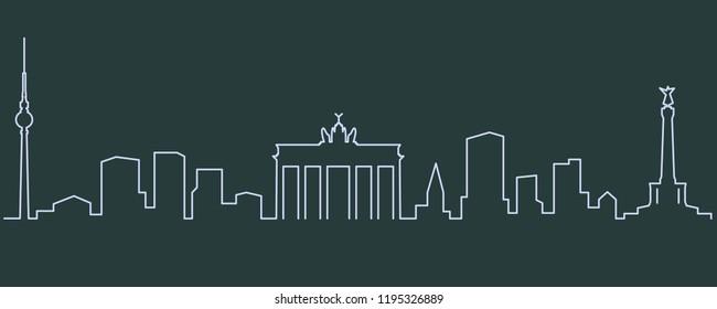 Berlin Single Line Skyline