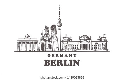 Berlin sketch skyline. Berlin, Germany hand drawn vector illustration. Isolated on white background.