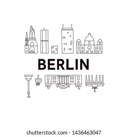 Berlin skyline. Cute And Funny Doodle Style. Vector illustration. Original design for souvenirs