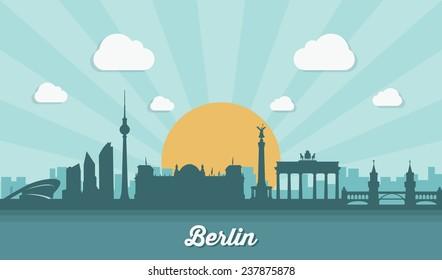 Berlin skyline - flat design - vector illustration