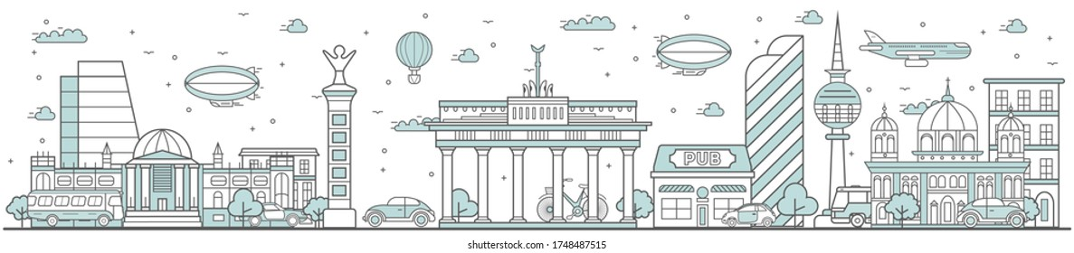 Berlin skyline. Line cityscape with famous building landmarks panorama. Skyline with street Brandenburg Gate, Berlin Cathedral city sights. Capital city constructions outline, architecture concept