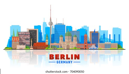 Berlin skyline on a white background. Flat vector illustration. Business travel and tourism concept with modern buildings. Image for banner or web site.