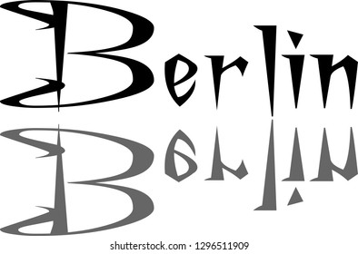 Berlin text sign illustration on white background