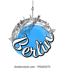 Berlin travel logo sketch. Colored skyline vector illustration with watercolor background and typo.