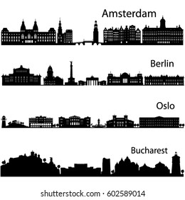 Berlin,Oslo,Bucharest,Amsterdam detailed cities silhouette in vector format./Collection of city skyline vector.