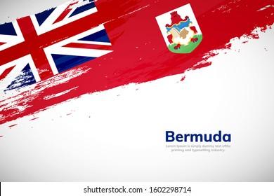 Bermuda flag painted brush stroke grunge style background