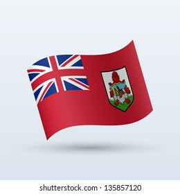 Bermuda flag waving form on gray background. Vector illustration.