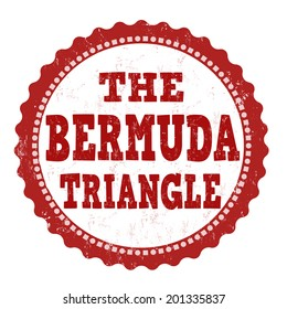 The Bermuda Triangle grunge rubber stamp on white, vector illustration