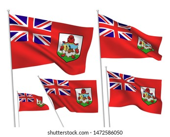Bermuda vector flags set. 5 different wavy fabric 3D flags fluttering on the wind. EPS 8 created using gradient meshes isolated on white background. Five design elements from world collection
