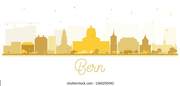Bern Switzerland City Skyline with Golden Buildings Isolated on White. Vector Illustration. Business Travel and Tourism Concept with Historic Architecture. Bern Cityscape with Landmarks.
