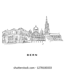 Bern Switzerland famous architecture. Outlined vector sketch separated on white background. Architecture drawings of all European capitals.