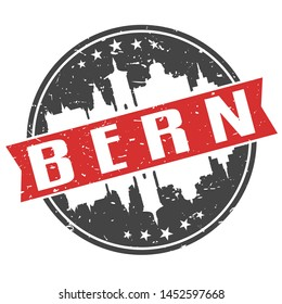 Bern Switzerland Round Travel Stamp. Icon Skyline City Design. Seal Tourism Ribbon.