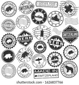 Bern Switzerland Stamp. Vector Art Postal. Passport Travel Design. Travel and Business Set.
