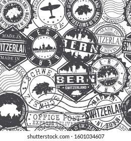Bern Switzerland Stamps Background. City Stamp Vector Art. Postal Passport Travel. Design Set Pattern.
