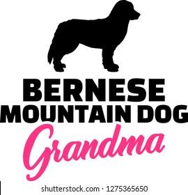 Bernese Mountain Grandma silhouette pink word