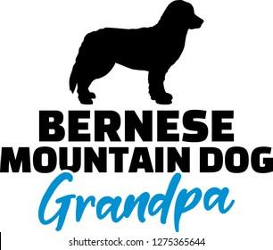Bernese Mountain Grandpa silhouette blue word