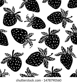 Berries black fruit vector strawberry with leaves seamless pattern for textile prints, cards, design. Flat style strawberry, vector. Strawberry fruit pattern with seamless background illustration.