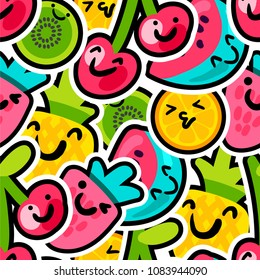 Berries and fruits mix pattern - lovely funny and bright painted pineapple, orange, watermelon and cherries with kiwi with black outline. For kids prints. Vector illustration