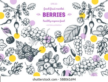 Berries hand drawn vector illustration frame. Hand drawn sketch illustration with goji berries, buckthorn, cloudberry, cherry, raspberry, barberry. Healthy food design template with berries