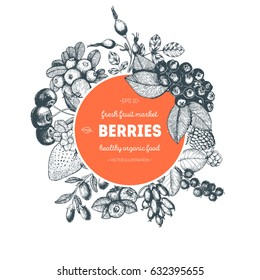 Berries hand drawn vector illustration. Hand drawn sketch illustration with with cherry, raspberry, cranberry, barberry, strawberry, goji berries. Healthy food, circle design template with berries.