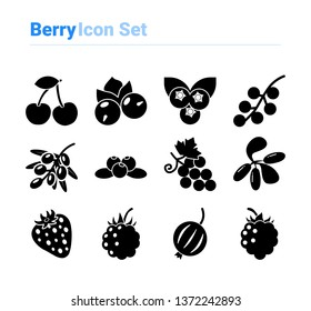Berries icon set icon set of black and white types. Isolated vector sign symbols. Icon pack.