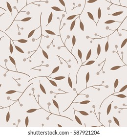 Berries, leaves and branches vector seamless pattern.