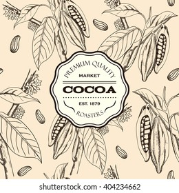 Berries, leaves, shoots and grains of cocoa. Cacao. Seamless pattern, hand drawn, badge. Vector illustration