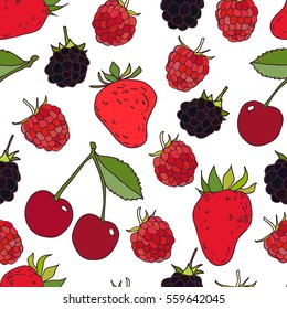Berries seamless pattern. Raspberry, strawberry, cherry, blackberry. Summer background