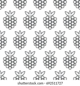 Berries seamless pattern. Vector background. Monochrome. Wrapping paper, textile, cover or package design