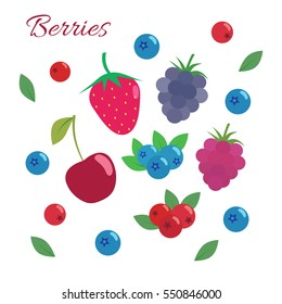 Berries set. Flat design. Strawberry, blueberry, blackberry, raspberry, cherry, cranberry isolated on white background.