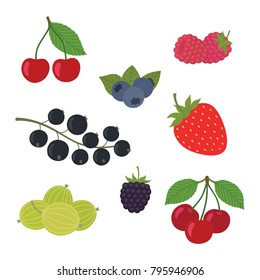 Berries Set Vector Illustration. Strawberry, Blackberry, Blueberry, Cherry, Raspberry, Black currant, Gooseberry. Berries and their Combinations Set